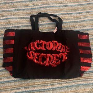 BNIB Victoria's Secret Black with Red Sequins Tote